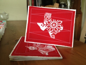 Send some Texas Christmas cheer with these fabric cards!