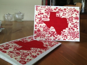 These cards combine cute fabric with red stitching to make something very special.